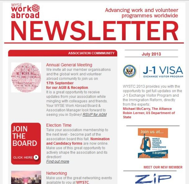 WYSE Work Abroad Newsletter